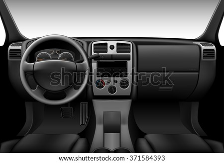 Truck interior - inside view of car, dashboard - stock vector