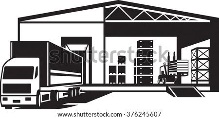 Truck loaded goods in warehouse - vector illustration - stock vector
