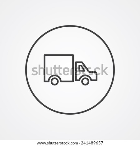 truck outline thin symbol, dark on white background, logo editable, creative template  - stock vector
