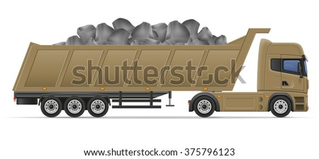 truck semi trailer delivery and transportation of construction materials concept vector illustration isolated on white background - stock vector