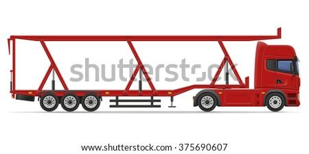 truck semi trailer for transportation of car vector illustration isolated on white background - stock vector