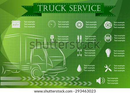 Truck service, repair Infographics. vector illustration - stock vector
