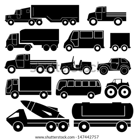 Truck Silhouettes - stock vector