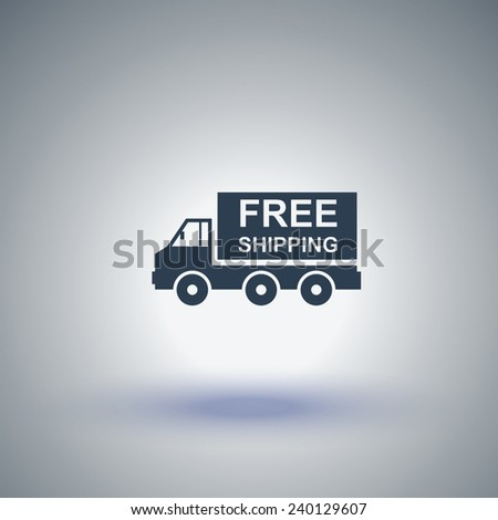 Truck vector icon. Free shipping icon - stock vector