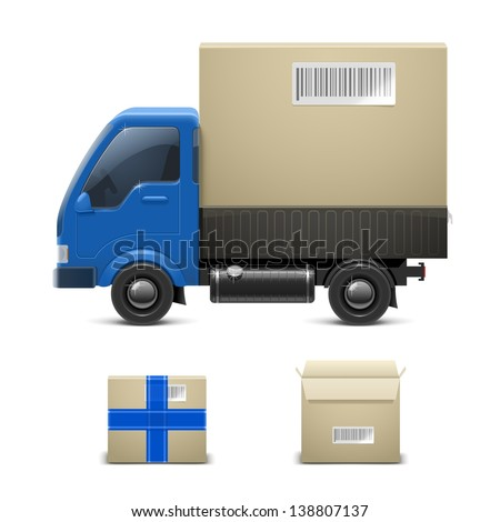 truck with a gift vector icon xxl - stock vector