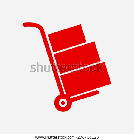 Truck with boxes icon.  Hand truck sign simbol. - stock vector