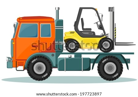 Truck with forklift - stock vector