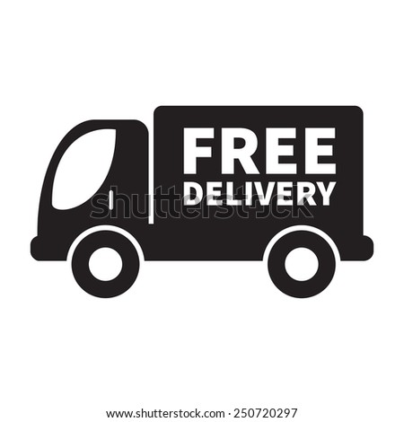 "Truck with ""Free Delivery"" sign. - stock vector"
