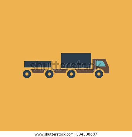 Truck with trailer. Colorful vector icon. Simple retro color modern illustration pictogram. Collection concept symbol for infographic project and logo - stock vector