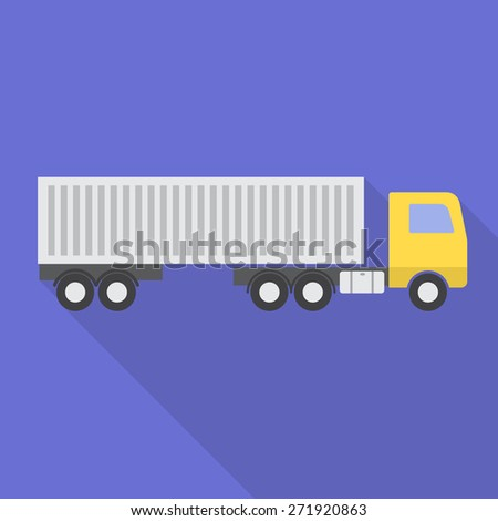 Truck with trailer flat,simple style icon with long shadow. Vector illustration EPS10 - stock vector
