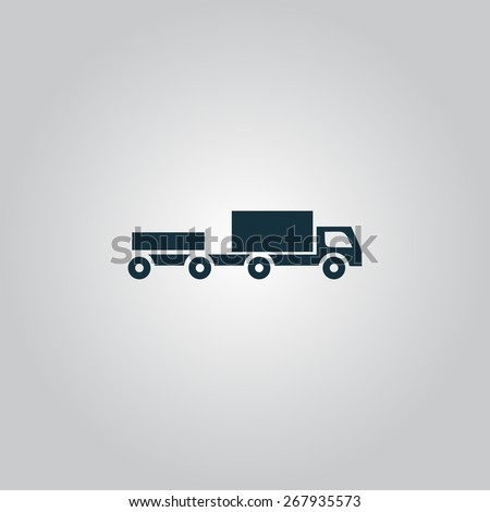 truck with trailer. Flat web icon or sign isolated on grey background. Collection modern trend concept design style vector illustration symbol - stock vector