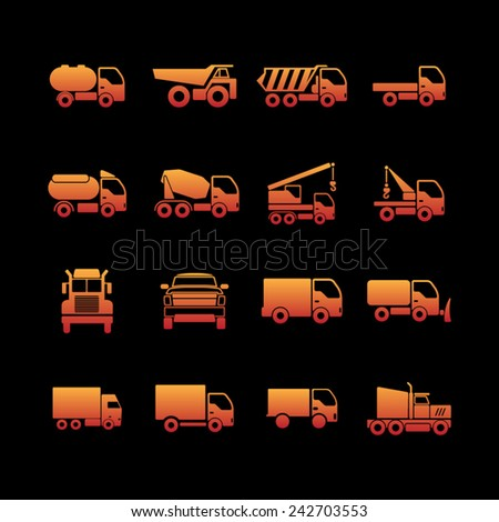 Trucking icons - stock vector