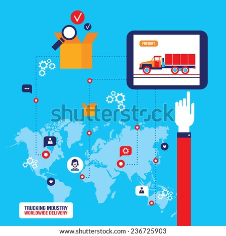 Trucking industry Truck transportation concept Modern flat design - stock vector