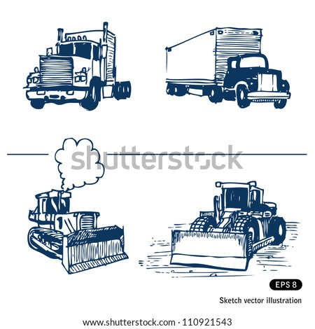 Trucks and bulldozers. Hand drawn sketch illustration isolated on white background - stock vector