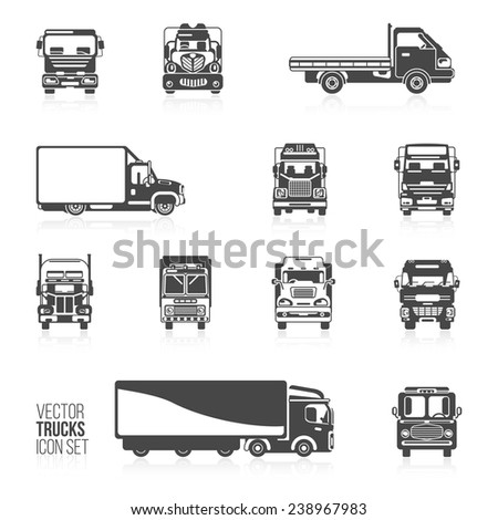 Trucks and delivery trailers automotive carriers decorative icons black set isolated vector illustration - stock vector