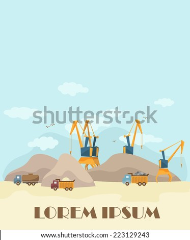 Trucks and materials: crane, excavator, bulldozer,  truck, stone, cement. Vector flat illustration  - stock vector