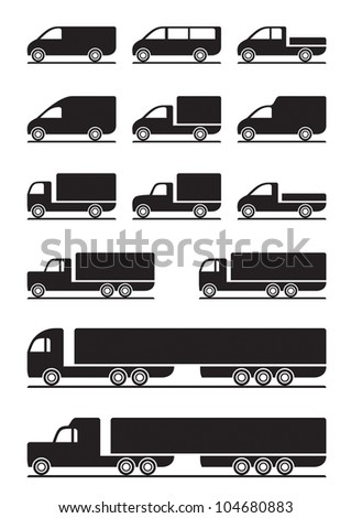 Trucks and pickups - vector illustration - stock vector