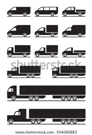 Trucks and pickups - vector illustration - stock vector