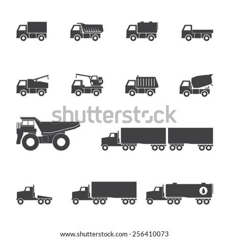 Trucks icons set - stock vector