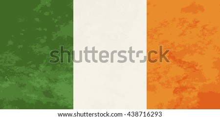 True proportions Ireland flag with grunge texture - stock vector