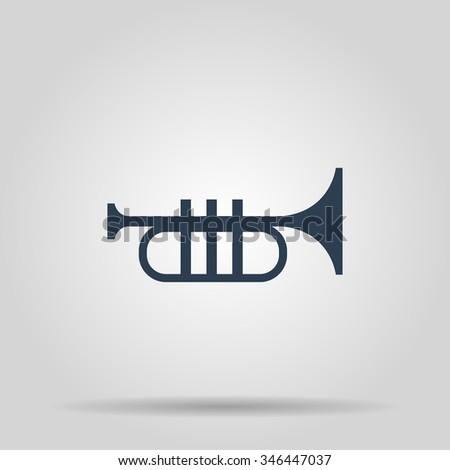 Trumpet icon. Flat design style eps 10 - stock vector