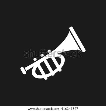 Trumpet icon vector. Trumpet Illustration, vector graphics eps10. Trumpet logo. Trumpet web icon. Trumpet silhouette. Trumpet icon app. Trumpet icon, flat style design. Trumpet icon - stock vector