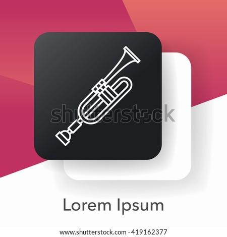 trumpet line icon - stock vector