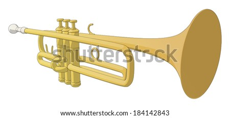 Trumpet -  Vector Artwork (isolated on white background). - stock vector
