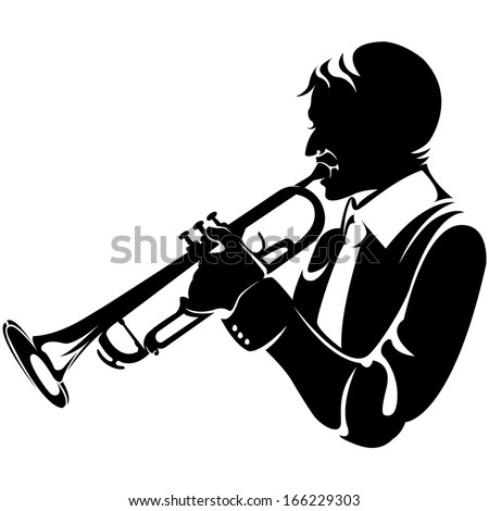 trumpeter, silhouette - stock vector