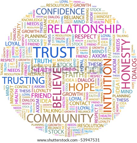 TRUST. Word collage on white background. Vector illustration. - stock vector