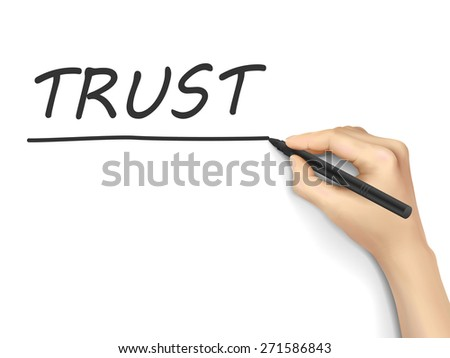 trust word written by hand on white background - stock vector