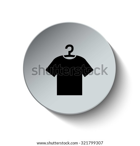 Tshirt with hanger icon. Clothes icon. Rounded button. Vector Illustration. EPS10 - stock vector
