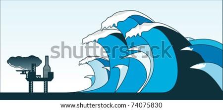 Tsunami - stock vector