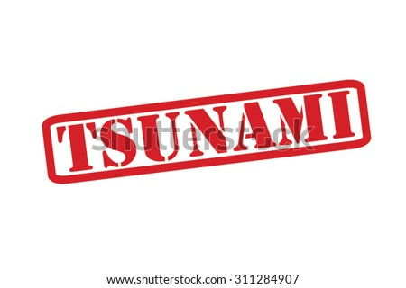 TSUNAMI red Rubber Stamp Vector over a white background. - stock vector
