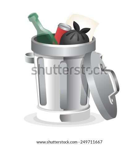 Ttrash can. Vector illustration - stock vector