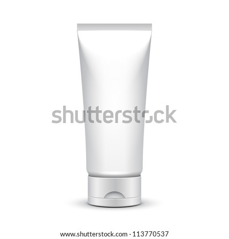 Tube Of Cream Or Gel Grayscale Silver White Clean. Ready For Your Design. Product Packing Vector EPS10 - stock vector