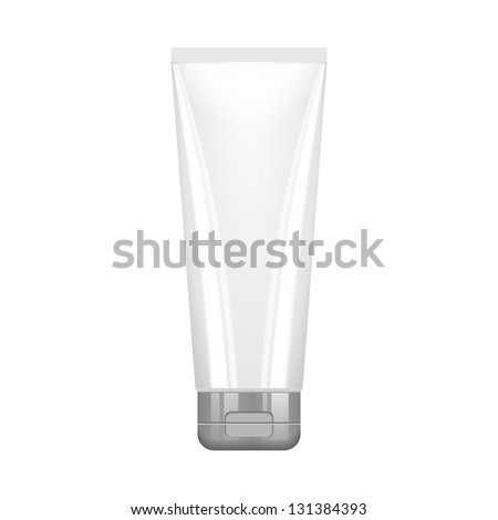 Tube Of Cream Or Gel Grayscale Silver White Clean With Gray Chrome Lid. Ready For Your Design. Product Packing Vector EPS10 - stock vector