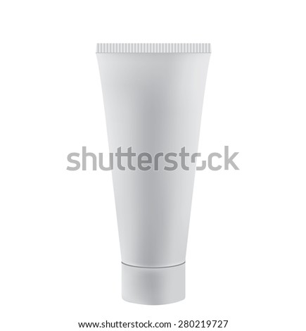 Tube Of Cream Or Gel white plastic product - stock vector