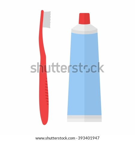 Tube of toothpaste and tooth brush in flat style isolated on white background. Vector - stock vector