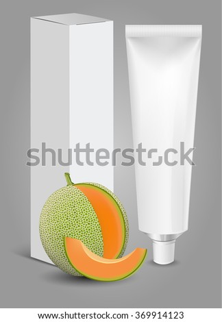 Tube Of Toothpaste, Cream Or Gel with box and Fruit. Ready For Your Design. New Product Packing Vector EPS10 - stock vector