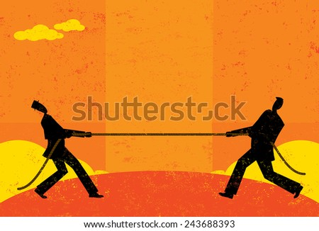 Tug of War Businessmen competing for market share in a tug-of-war battle.The men and rope are on a separate labeled layer from background. - stock vector