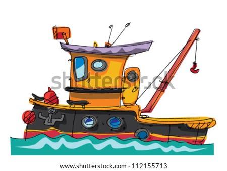 tugboat  - cartoon - stock vector