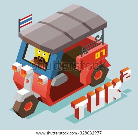 Tuktuk in Bangkok isometric vector - stock vector