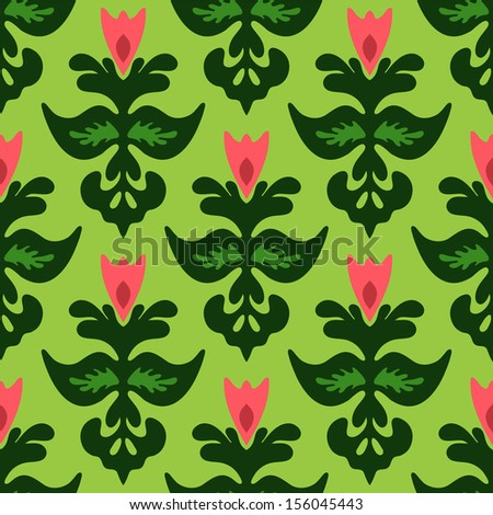 Tulip Flower Seamless Pattern Vector illustration - stock vector