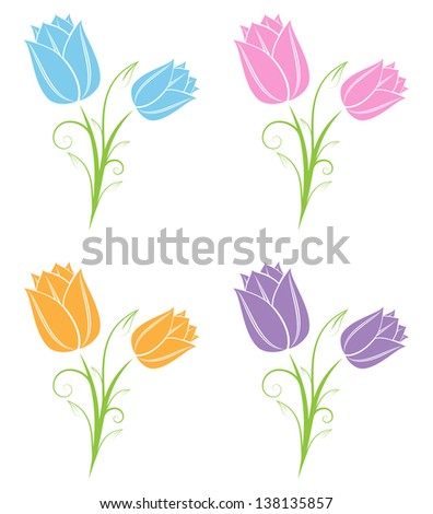 Tulips - stock vector