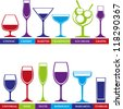 Tumblers set for alcohol drinks, cocktails and ice cream. Wine, martini, cognac, cherry, champagne, grappa glasses. - stock vector