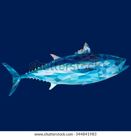 Tuna in low polygon style on blue background, vector illustration - stock vector