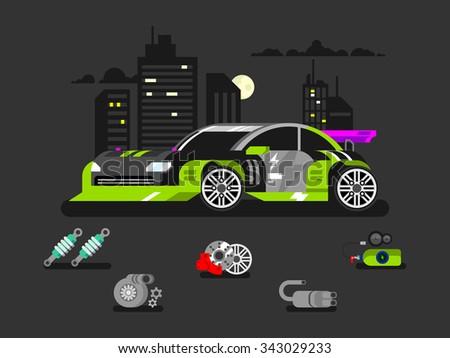 Tuned machine nitrous oxide. Diagnostic engine car, transportation automotive, motor and vehicle, flat vector illustration - stock vector