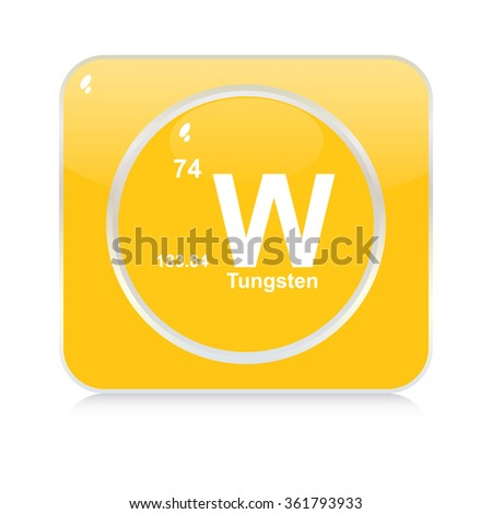 tungsten chemical element button - stock vector