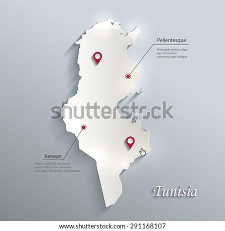 Tunisia map blue white card paper 3D vector - stock vector